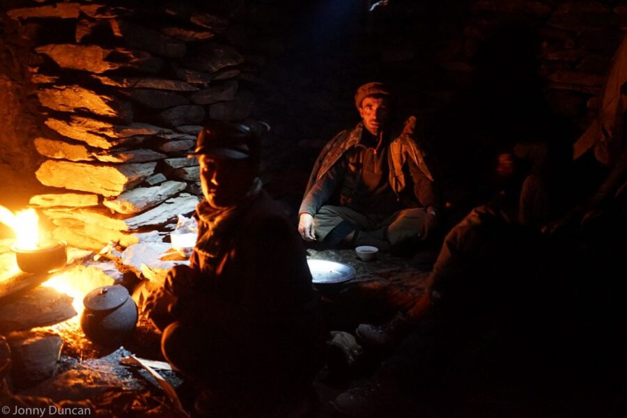 Cooking in a shelter.