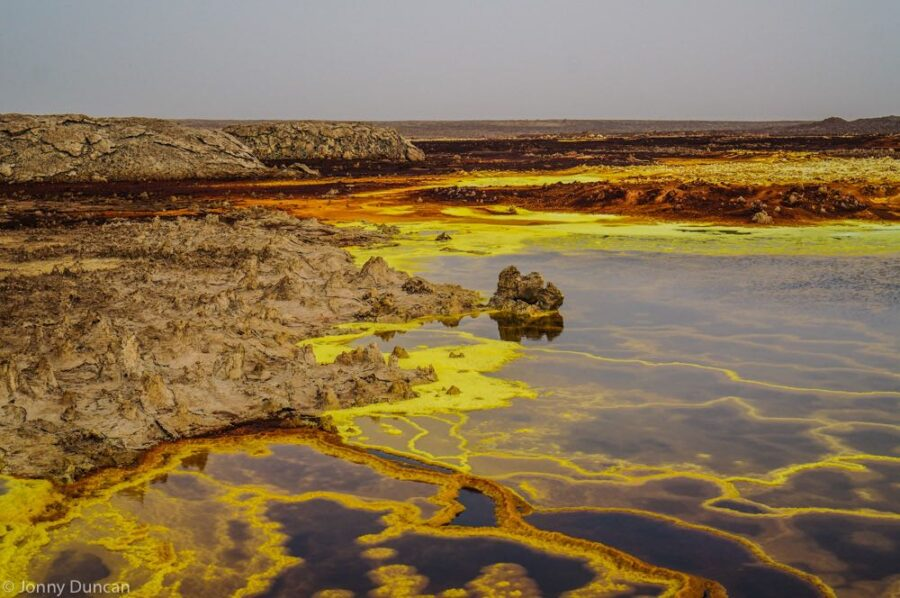 Volcanic activity danakil depression backpacking Ethiopia