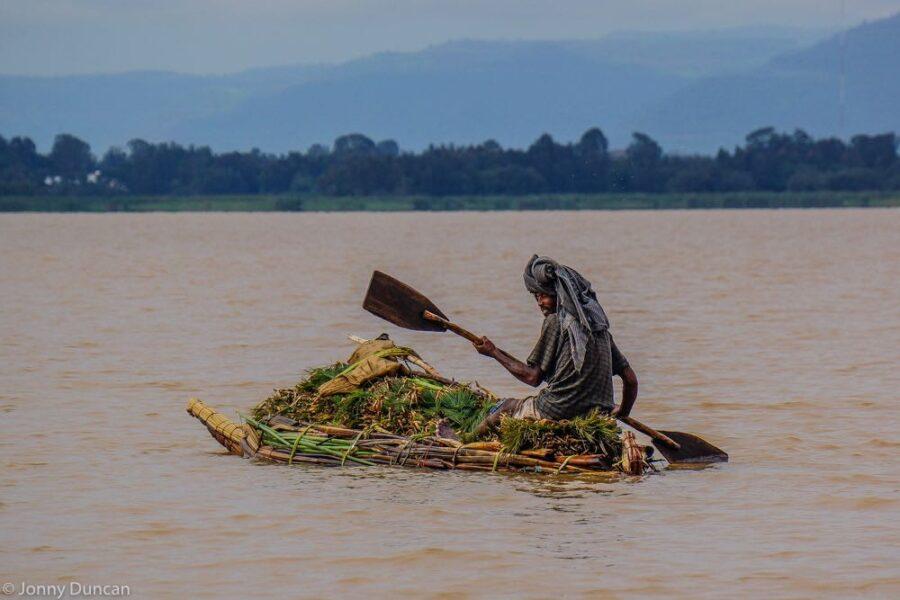 Traditional reed boat on Lake Tana.