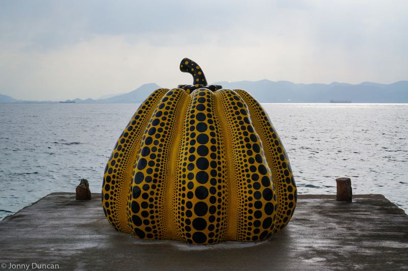 Art sculture on Naoshima Island, seen from best day trips from Osaka.