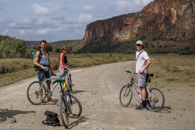 backpacking Kenya on a budget cycling Hells Gate National Park