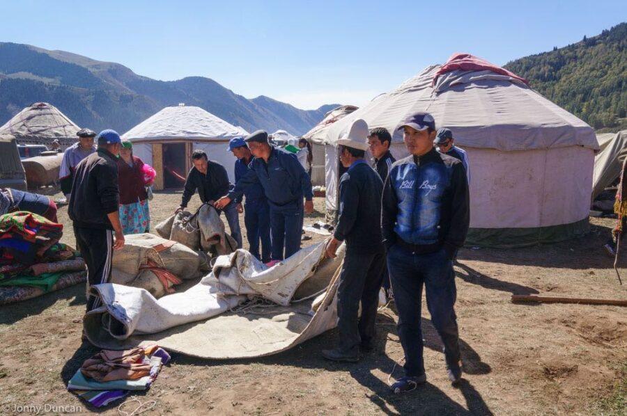 yurt building Kyrgyzstan