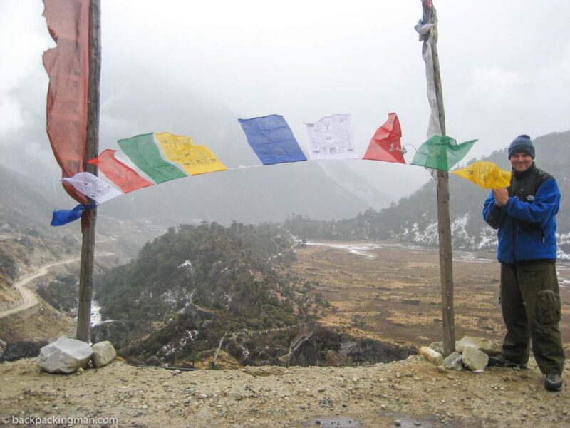backpacking in sikkim prayer flags