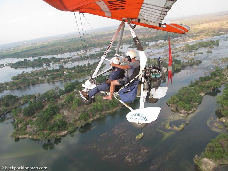 microlight flying Zambezi River