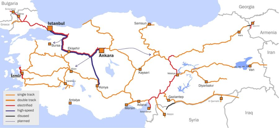 turkey train map Dogu Express