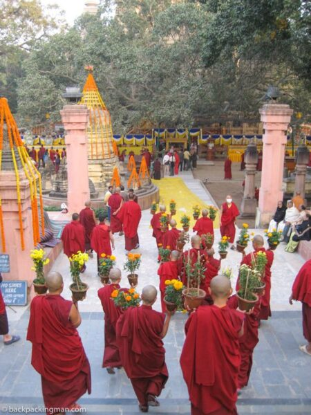 tibetan buddhist monks bodh gaya