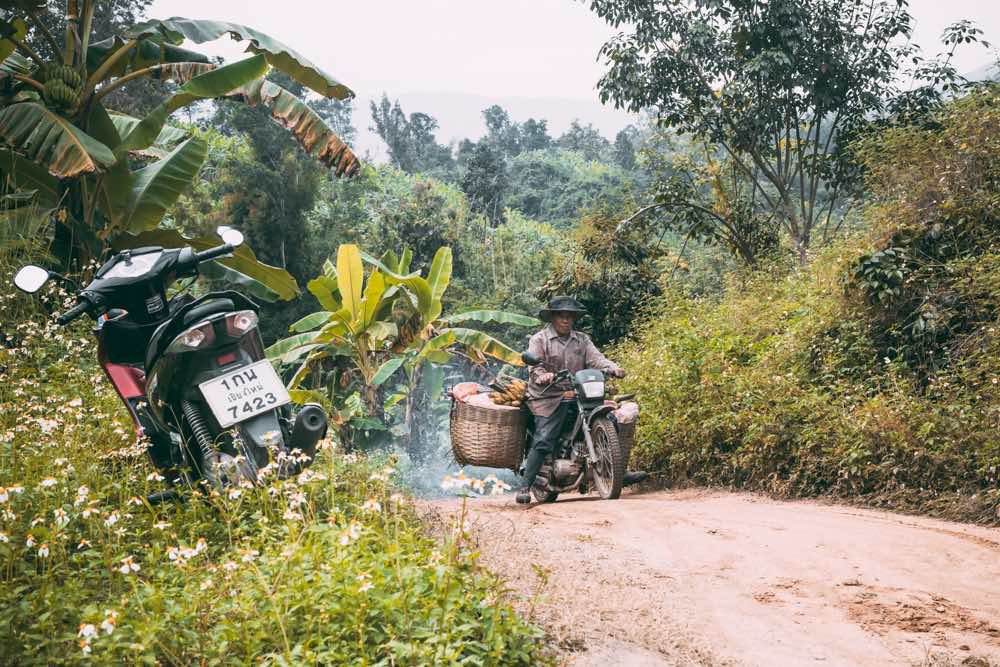 riding motorbike in pai thailand