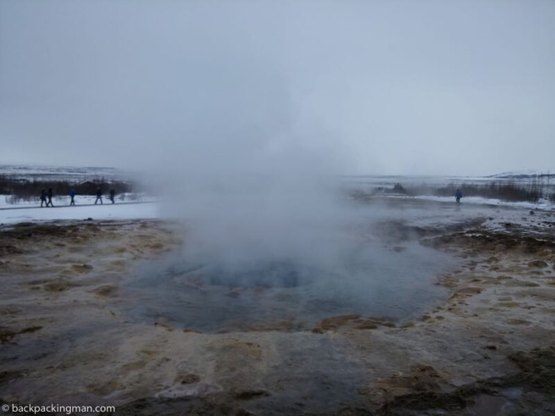 geysers Iceland in winter