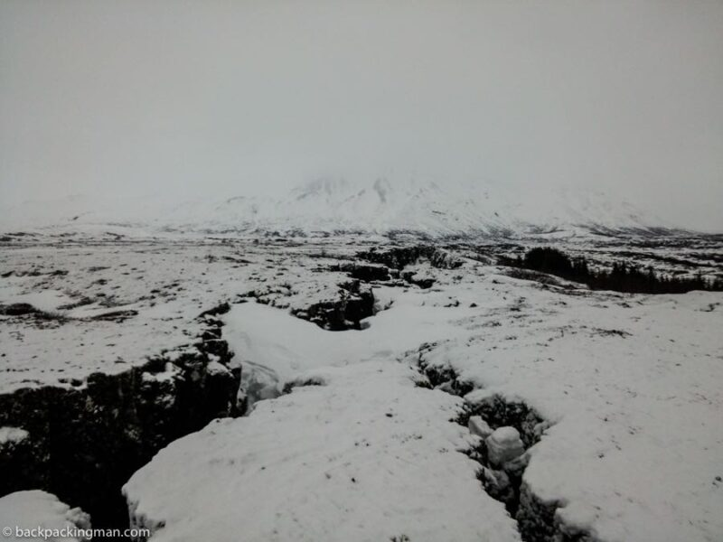 Iceland mountain covered in snow