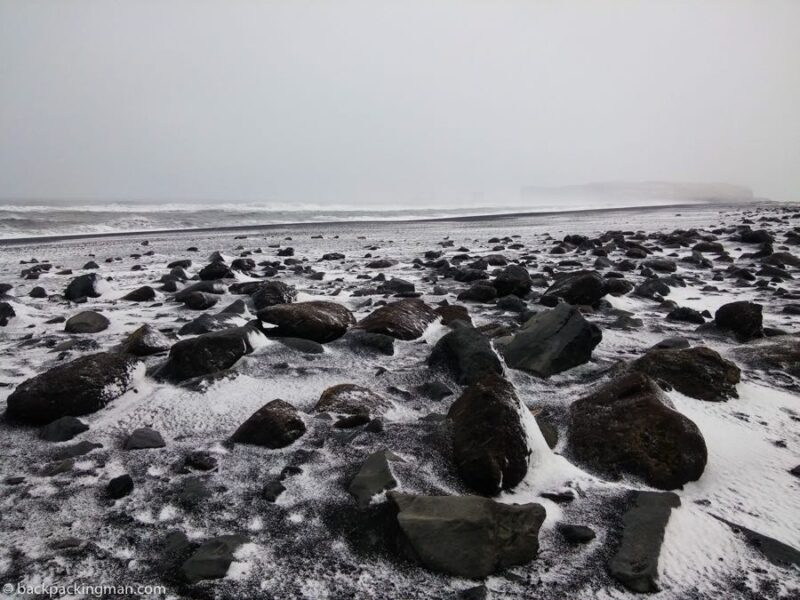 stone beach in Iceland in winter
