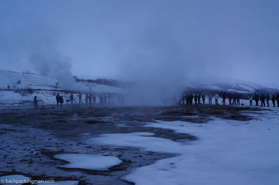 geysers in Iceland in winter