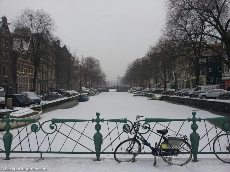 cycling Amsterdam in winter