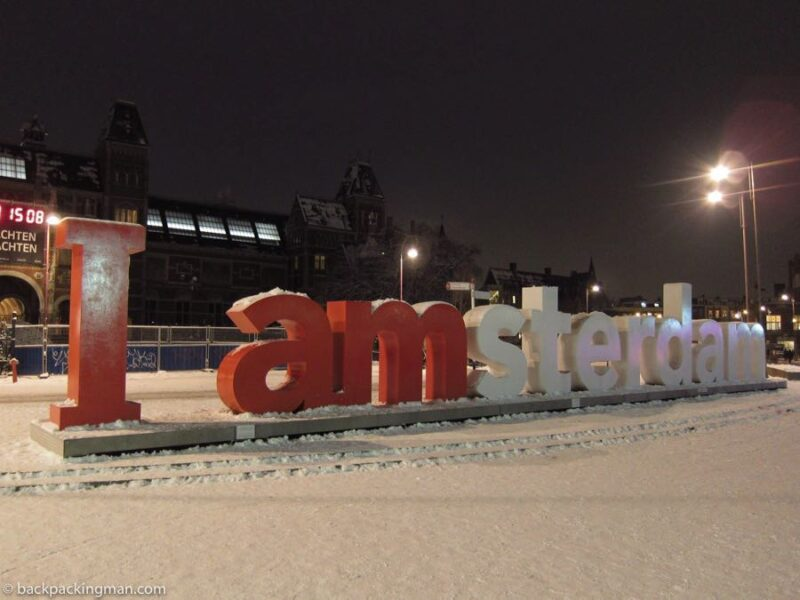 Amsterdam sign in winter