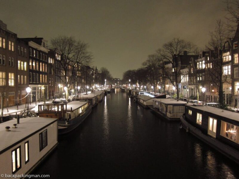 Amsterdam canals winter ice