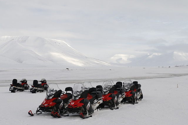 snowmobiles Svalbard living in the Arctic