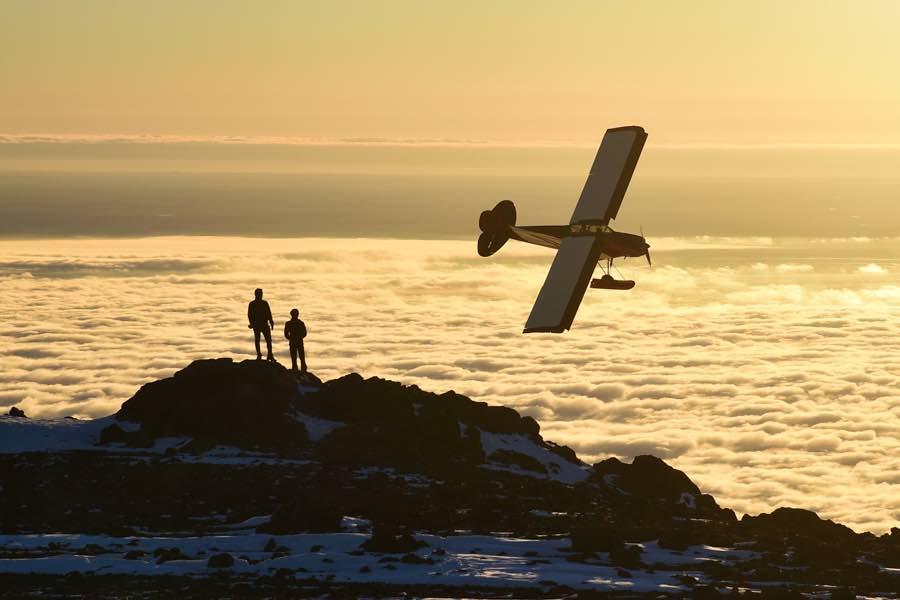 small plane flying near Anchorage