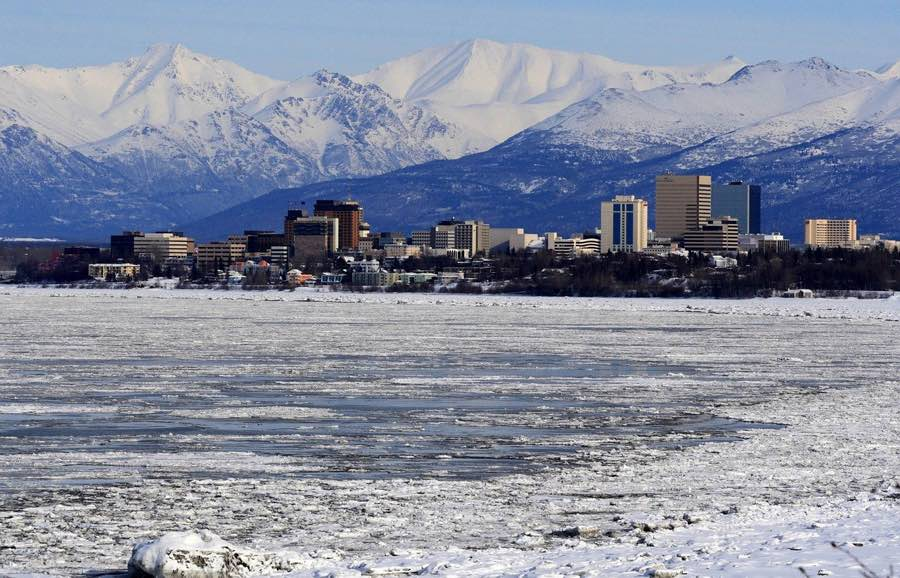 things to do in Anchorage Alaska - Anchorage city in winter covered in snow.